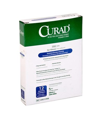Curad Sterile Overwrap Petrolatum Gauze CUR251390W