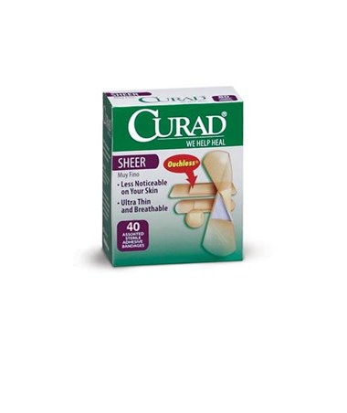 Curad Sheer Adhesive Assorted Size Bandages 40 CT