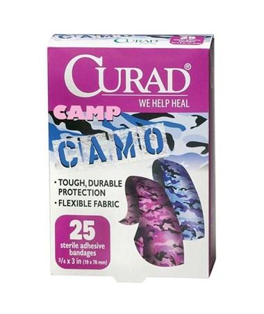 Curad Camo Fabric Adhesive Bandages Pink & Blue
