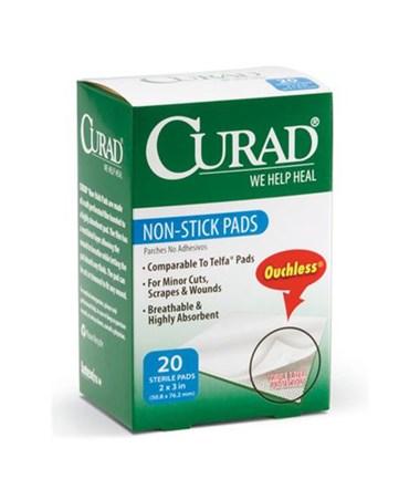 """Curad Sterile Non-Stick Pads 3"""" x 2"""" 20/box"""