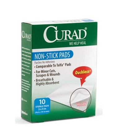 """Curad Sterile Non-Stick Pads 4"""" x 3"""" 10/box"""