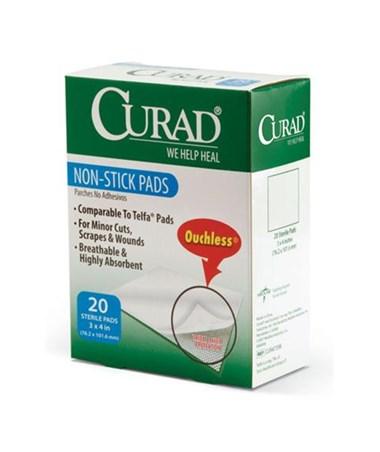 """Curad Sterile Non-Stick Pads 4"""" x 3"""" 20/box"""