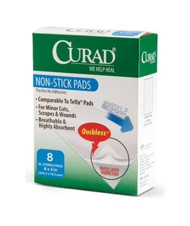 """Curad Sterile Non-Stick Pads 3"""" x 8"""" 8/box"""
