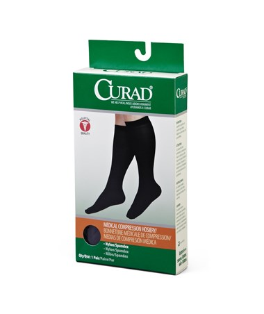 Black 15-20 mmHg Knee Length Compression Hosiery CURMDS1701ABH-