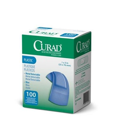 "Curad Food Service Plastic Adhesive Bandages 3"" x 1"""
