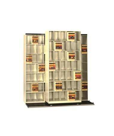 "Datum Vu-Stak® BiSlider™ Letter-Size Filing System - Three 36"" Units with 8 Tiers"