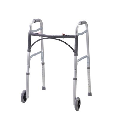 Deluxe Folding Walker, Two Button with Wheels DRI10210-4A