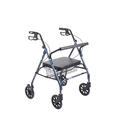 """Drive 10215BL-1 Go-Lite Bariatric Steel Rollator, Padded Seat, 8"" Casters with Loop Locks"""