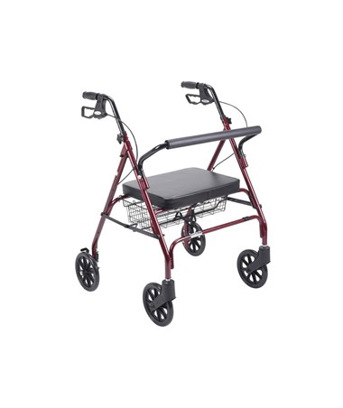 """Drive 10215RD-1 Go-Lite Bariatric Steel Rollator, Padded Seat, 8 Casters with Loop Locks""
