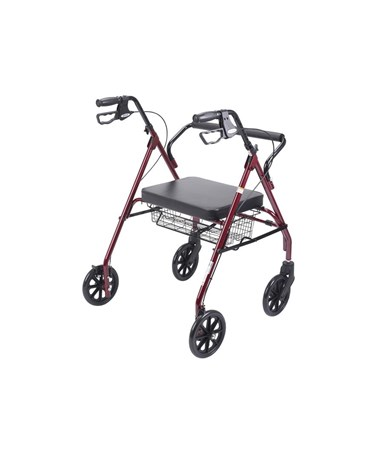 """Drive 10215RD-1 Go-Lite Bariatric Steel Rollator, Padded Seat, 8 Casters with Loop Locks