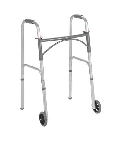 "Two Button Folding Walker with 5"" Wheels DRI10244-1"
