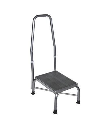 Bariatric Footstool with Handrail with Non Skid Rubber Platform DRI13062-1SV