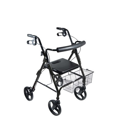"""Drive 750NBK D-Lite, Aluminum Rollator, 8 Casters with Loop Locks and Tool Free Removable Wheels Black"""