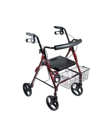 """Drive 750NR D-Lite, Aluminum Rollator, 8 Casters with Loop Locks and Tool Free Removable Wheels Red"""