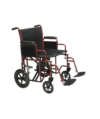 """Drive Bariatric Steel Transport Chair Red"""