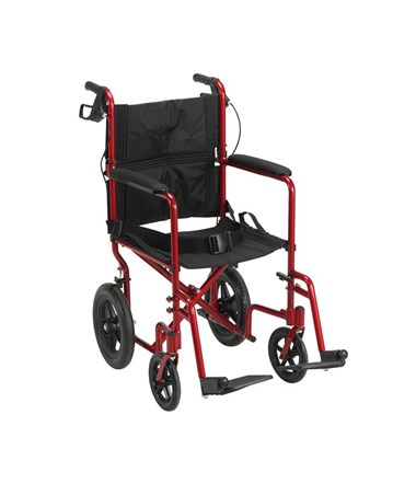 """Drive EXP19LTRD Lightweight Expedition Transport Wheelchair with Hand Brakes Red
