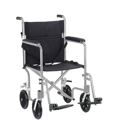 """Drive FW17SL Deluxe Fly-Weight Aluminum Transport Chair - Silver"""