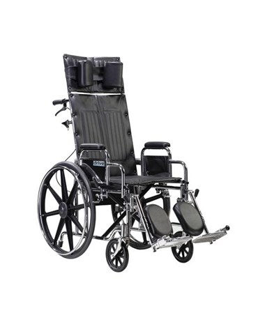 """Drive Sentra Reclining Wheelchair with Elevating Leg rest and Detachable Fixed Height Desk Arms"""