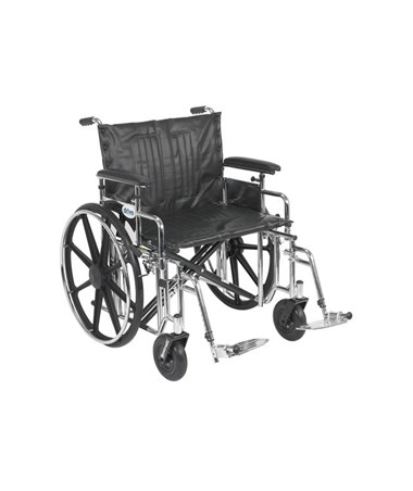 """Drive Sentra Extra Heavy Duty Wheelchair Detachable Adjustable Height Full Arms Swing away Footrest