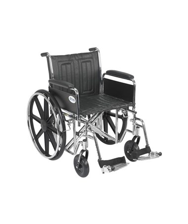 """Drive Sentra EC Heavy Duty Wheelchair - Dual Axle Detachable Full Arms Swing away Footrest
