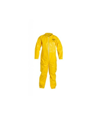 Dupont QC120SYL Yellow Tychem QC Coverall with Serged Seam and Zipper Front DUPQC120SYL-LG