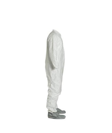 Dupont TY121SWH White Tyvek TY Coverall with Attached Boots and Zipper Front