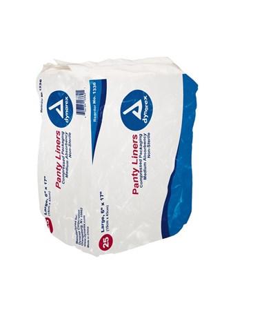 "Dynarex #1336 Pant Liners with Adhesive Tab, 6"" x 17"", 25 Pads per bags/ 10 bags"