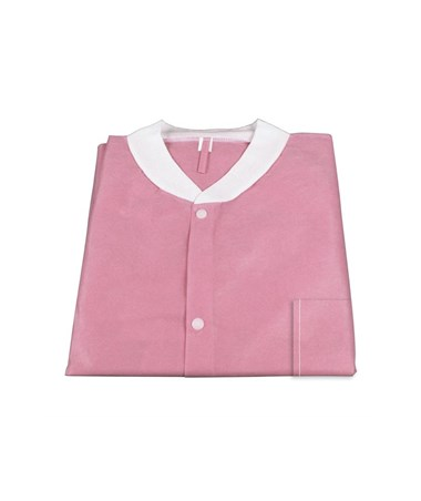 Dynarex #2022, 2023, 2024, 2025, 2026, Lab Jacket SMS with Pockets, Pink, Small, Medium, Large, Xlarge, 2XL, 10 per Bag, 30 Bag/Case