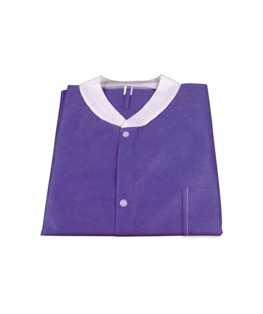 Dynarex #2032, 2033, 2034, 2035, 2036, Lab Jacket SMS with Pockets, Purple, Small, Medium, Large, Xlarge, 2XL, 10 per Bag, 30 Bag/Case