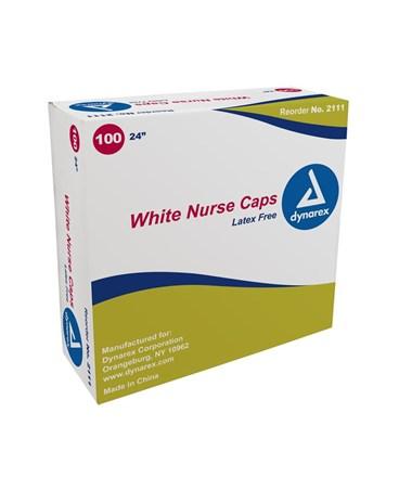 """Dynarex #2111 24"""" White, 100 Caps to a box, 5 boxes"""