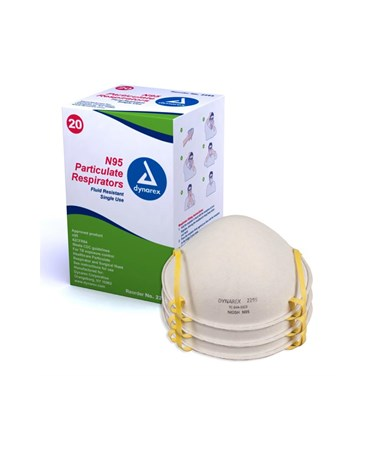 Dynarex #2295 N95 Particulate Respirator Mask, 20 masks in a box, 12 boxes in a case, total of 240 masks