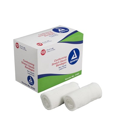 "#3203 Stretch Gauze Bandage Roll N/S 3"" width, 12 rolls to a box/ 8 boxes, total of 96 rolls in a case"