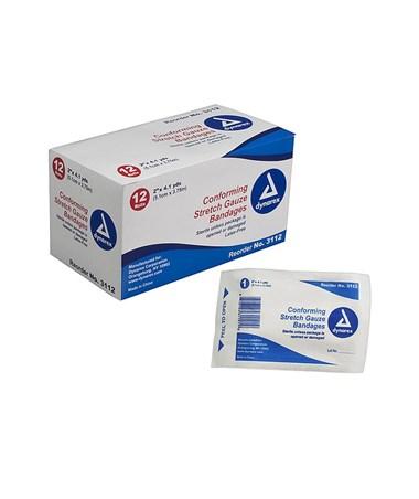 "Dynarex #3112 Stretch Gauze Bandage Roll, Sterile, 2"" Width"