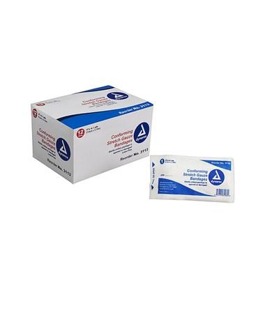 "Dynarex #3113 Stretch Gauze Bandage Roll, Sterile, 3"" Width"