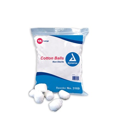 Dynarex #3169      Cotton Ball, Large, Non-Sterile, 1,000 per bag, 2 bags per case, total of 2,000