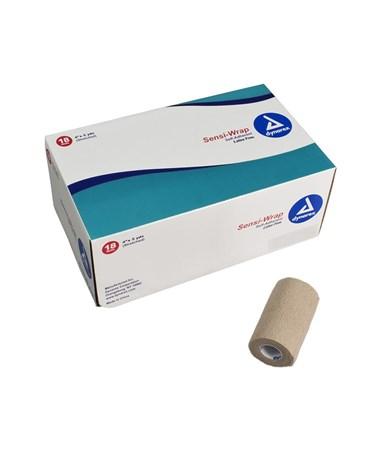 "Dynarex #3190 Sensi Wrap, Self-Adherent Bandage, Latex Free, 4"" x 5 Yards, Tan, 18 Rolls Per Case"