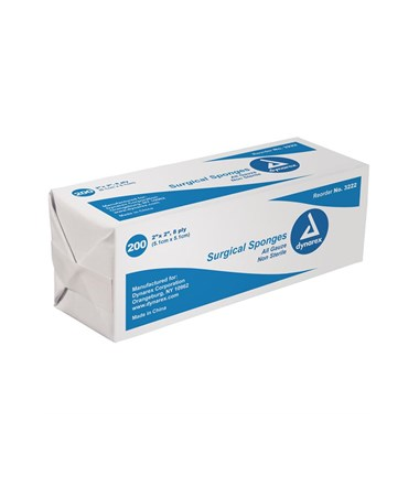 Dynarex #3222 Gauze Sponge, Non-Sterile, 2 x 2, 8 Ply, 200 Sponges per box, 25 boxes per case, total of 5,000 Sponges