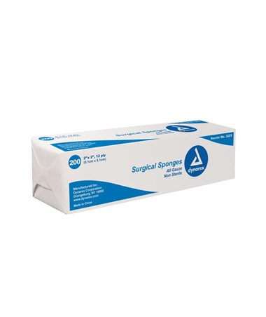 Dynarex #3223 Gauze Sponge, Non-Sterile, 2 x 2, 12 Ply, 200 Sponges per box, 40 boxes per case, total of 8,000 Sponges