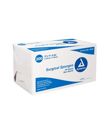 Dynarex #3232 Gauze Sponge, Non-Sterile, 3 x 3, 8 Ply, 200 Sponges per box, 20 boxes per case, total of 4,000 Sponges
