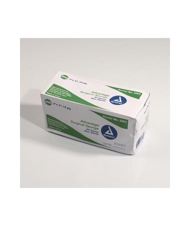 "Dynarex #3263 Gauze Sponge, Non-Sterile ""Advantage"", Economy, 3 x 3, 12 Ply, 200 Sponges per box, 20 boxes per case, total of 4,000 Sponges"