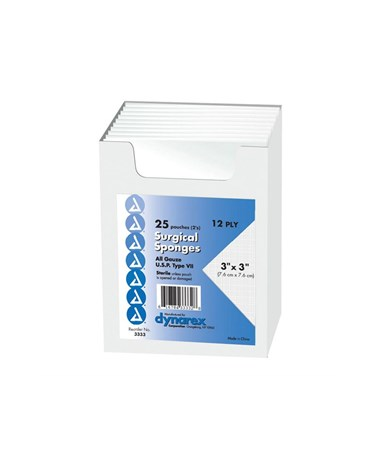 Dynarex #3333 Gauze Sponge, Sterile, 3 x 3, 12 Ply, 2/pouch