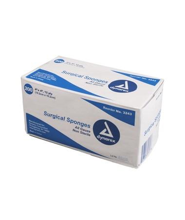 Dynarex #3343 Gauze Sponge, Sterile, 4 x 4, 12 Ply, 2/pouch