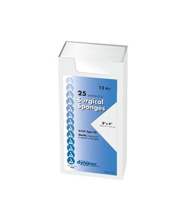 Dynarex #3344 Gauze Sponge, Sterile, 8 x 4, 12 Ply, 2/pouch
