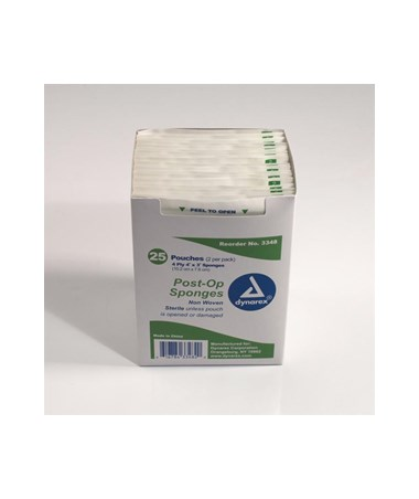 Dynarex #3348 Post -Op Sponge, Non-Woven, Sterile, 2/pk, 4 x 3, 4 Ply, 25 Sponges per box, 24 boxes per case, total of 1,200 Sponges