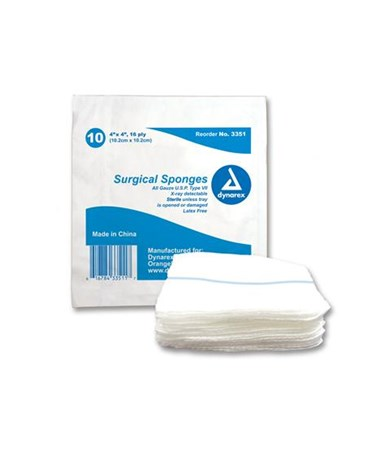 Gauze Sponge, Sterile, X-Ray Detectable, 4x4, 16 Ply DYN3351