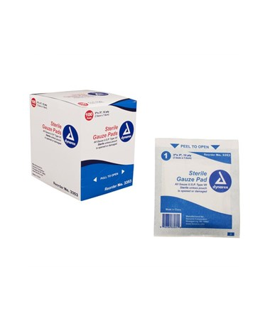 Dynarex #3353 Gauze Pad, Sterile 1/pouch, 3 x 3, 12 Ply, 100 sponges per box, 24 boxes per case, total of 2,400 pads