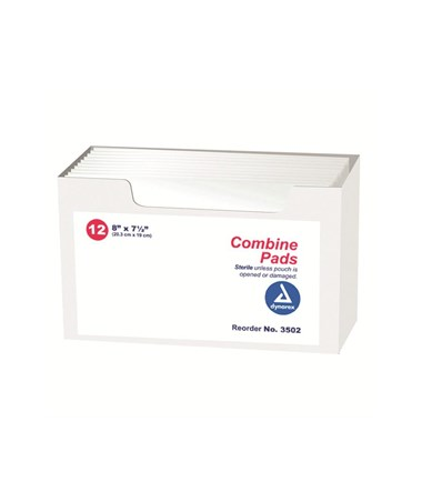 Dynarex #3502 Abdominal Pad, Sterile, 8x7.5, 1/Pouch, 12 Pads Per Box, 20 Boxes Per Case