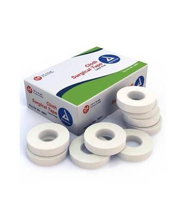 "Dynarex #3561 Surgical Tape, Cloth, 1"" x 10 Yds, 24 Rolls Per Box, 12 Boxes Per Case"