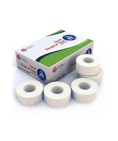 "Dynarex #3562 Surgical Tape, Cloth, 2"" x 10 Yds, 12 Rolls Per Box, 12 Boxes Per Case"