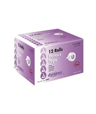 "Dynarex #3587 Porous Tape, 1"" x 10 Yds, 12 Rolls Per Box, 12 Boxes Per Case"